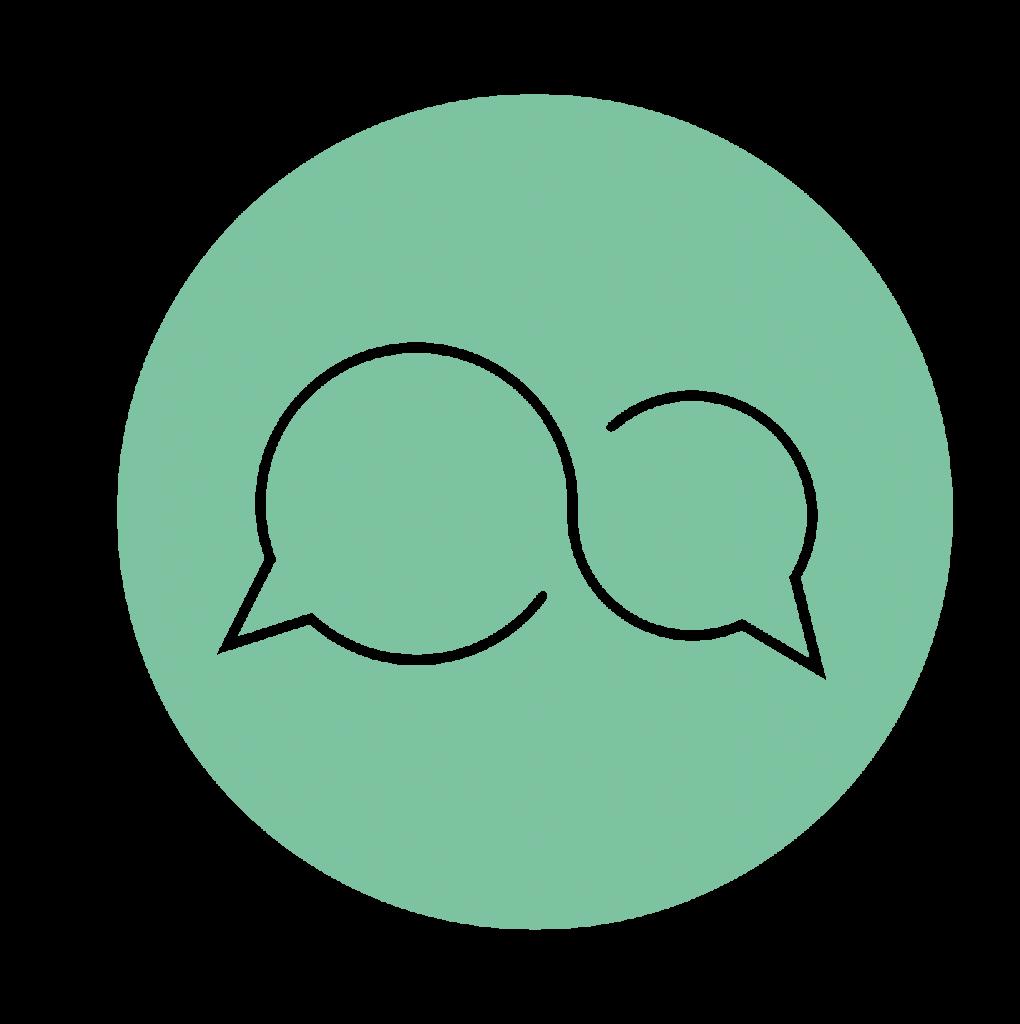 Mintgroene picto: 'reflecteer'/gesprek Tinspireert (Creatieve coaching en workshops om jezelf te ont-moeten in Evergem - Gent)