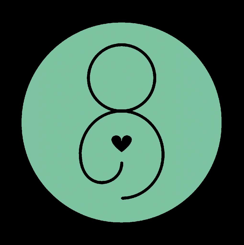 Mintgroene picto: 'connecteer'/stressverlagende technieken Tinspireert (Creatieve coaching en workshops om jezelf te ont-moeten in Evergem - Gent)