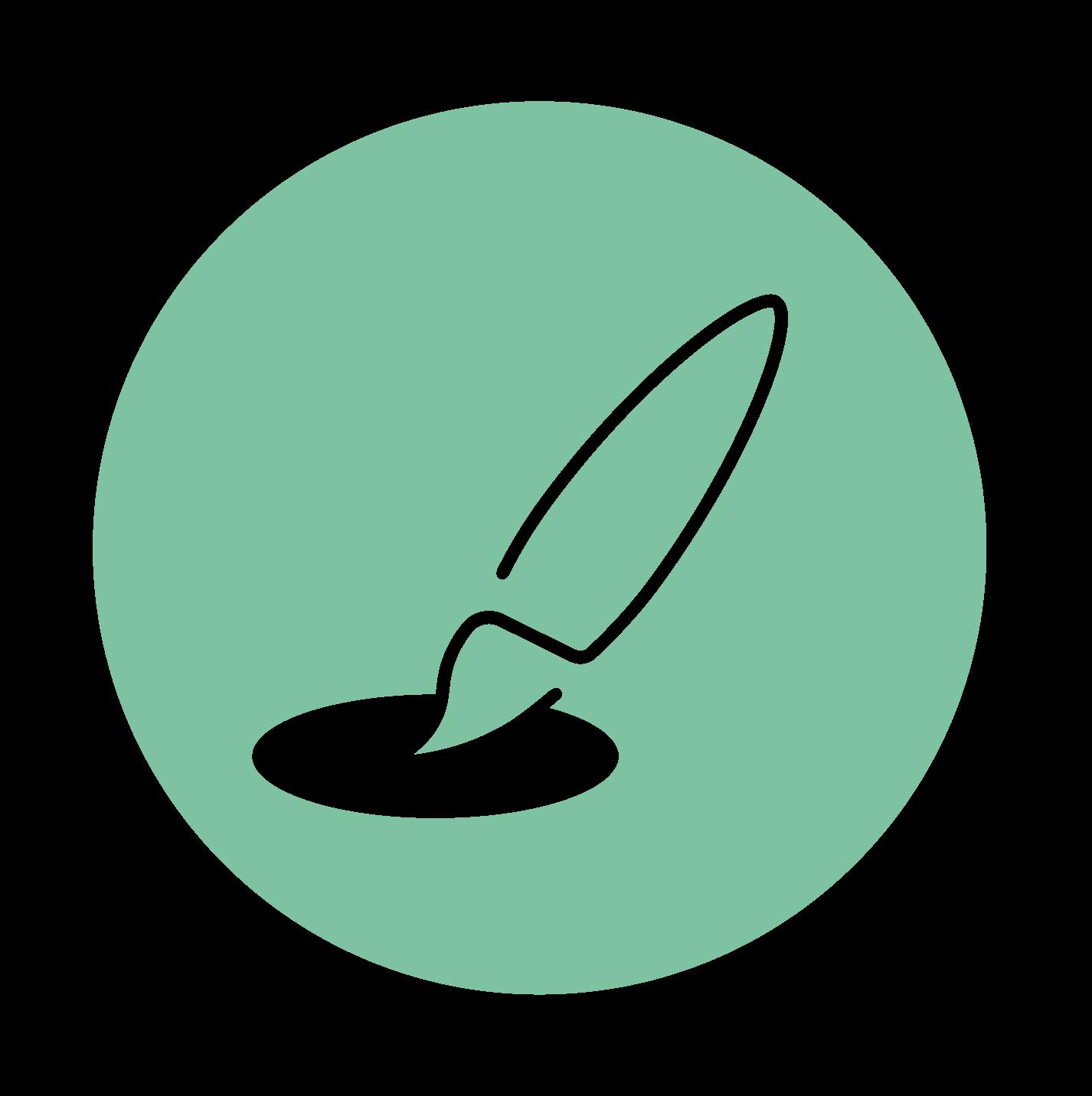 Mintgroene picto: 'creëer'/creatieve werkvormen Tinspireert (Creatieve coaching en workshops om jezelf te ont-moeten in Evergem - Gent)